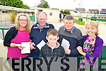 Pictured at the Kingdom Greyhound Stadium Holy Family School night at the dogs on Saturday night were from left: Michelle O'Sullivan, Derrymore, Tom Kennelly Lisselton, Sean Lucid Ferris, Ballyduff, Paddy Ferris, Ballyduff and Marian Costello, Tralee.