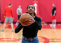 HOUSTON, TX - FEBRUARY 1: Crystal Dunn #19 of the United States takes a shot at Houston Rockets Training Center on February 1, 2020 in Houston, Texas.
