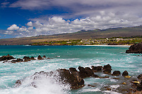 Hapuna on Kohala Coast: Turquoise water glistens between the coastline and Hapuna Hotel, Kohala, Big Island of Hawai'i.