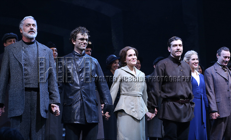 Tom Hewitt, Paul Alexander Nolan, Lora Lee Gayer, Tam Mutu, Kelli Barrett and Jamie Jackson during the Broadway Opening Night Performance Curtain Call for 'Doctor Zhivago' at The Broadway Theatre on April 21, 2015 in New York City.