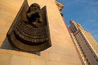 A memorial to Soviet mathematician Ivan Georgievich Petrovsky (Petrovskii) hangs on the main building of Moscow State University in Moscow, Russia. The sculpture calls him a hero of the Soviet Union for his service as rector of the University from 1953 to 1973.
