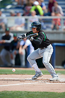 Dayton Dragons third baseman Alejo Lopez (4) lays down a bunt during a game against the Beloit Snappers on July 22, 2018 at Pohlman Field in Beloit, Wisconsin.  Dayton defeated Beloit 2-1.  (Mike Janes/Four Seam Images)