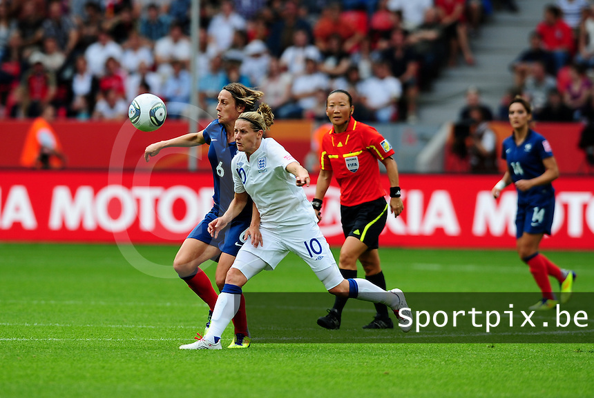 Fifa Women's World Cup Germany 2011 : England - France - at Leverkusen : Sandrine Soubeyrand in duel met Kelly Smith.foto DAVID CATRY / Vrouwenteam.be