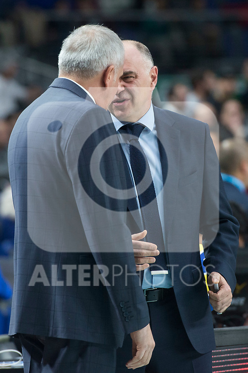 Real Madrid coach Pablo Laso and Fenerbahce Dogus coach Zeljko Obradovic during Turkish Airlines Euroleague match between Real Madrid and Fenerbahce Dogus at Wizink Center in Madrid , Spain. March 02, 2018. (ALTERPHOTOS/Borja B.Hojas)