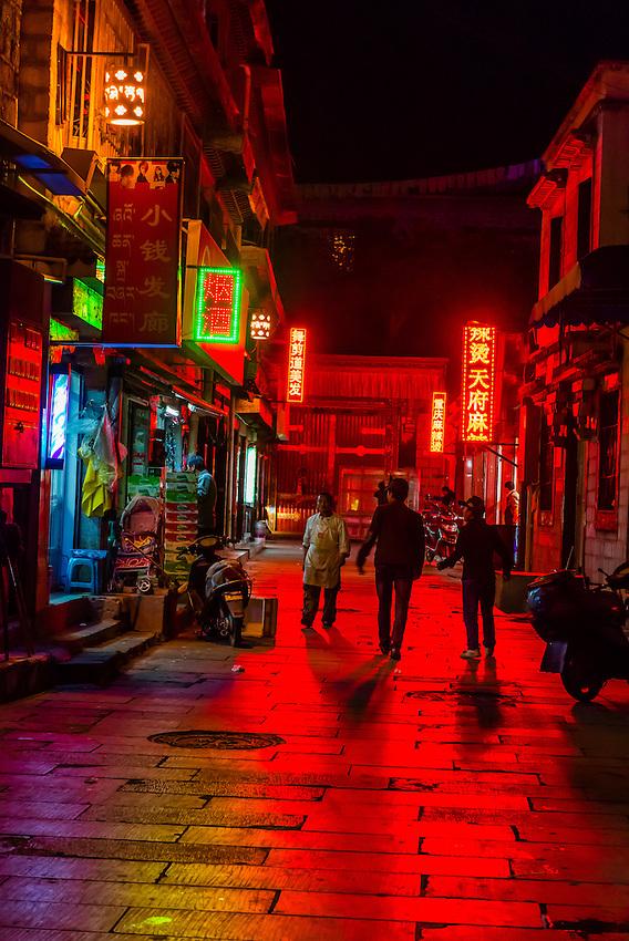 The back streets of Old Lhasa, Tibet (Xizang, China).