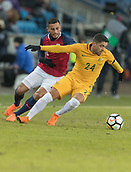 23rd March 2018, Ullevaal Stadion, Oslo, Norway; International Football Friendly, Norway versus Australia; Dimitri Petratos of Australia holds off the challenges from Bailey Wright of Australia