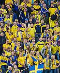 Solna 2015-09-08 Fotboll EM-kval , Sverige - &Ouml;sterrike :  <br /> Sveriges supportrar deppar under matchen mellan Sverige och &Ouml;sterrike <br /> (Photo: Kenta J&ouml;nsson) Keywords:  Sweden Sverige Solna Stockholm Friends Arena EM Kval EM-kval UEFA Euro European 2016 Qualifying Group Grupp G &Ouml;sterrike Austria depp besviken besvikelse sorg ledsen deppig nedst&auml;md uppgiven sad disappointment disappointed dejected supporter fans publik supporters