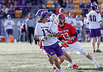 UAlbany Men's Lacrosse defeats Stony Brook on March 31 at Casey Stadium.  Jakob Patterson (#17) defended by Matt Robison (#33).