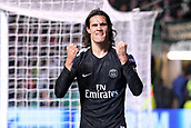 12th September 2017, Glasgow, Scotland; Champions League football, Glasgow Celtic versus Paris Saint Germain;  EDINSON CAVANI (psg) celebrates his 2nd goal in the 82nd minute