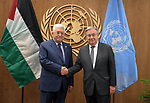 Palestinian President Mahmoud Abbas, meets with  Secretary General of the United Nations in New York, United States on September 25, 2019. Photo by Thaer Ganaim