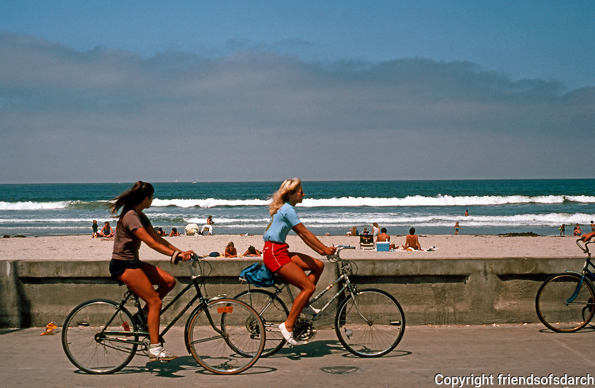 San Diego: Cyclists on Ocean Front Walk, North Pacific Beach.  (Photo 1982)