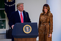 United States President Donald J. Trump makes remarks as he and first lady Melania Trump present the National Thanksgiving Turkey in the Rose Garden of the White House in Washington, DC on Tuesday, November 26, 2019.<br /> CAP/MPI/RS<br /> ©RS/MPI/Capital Pictures