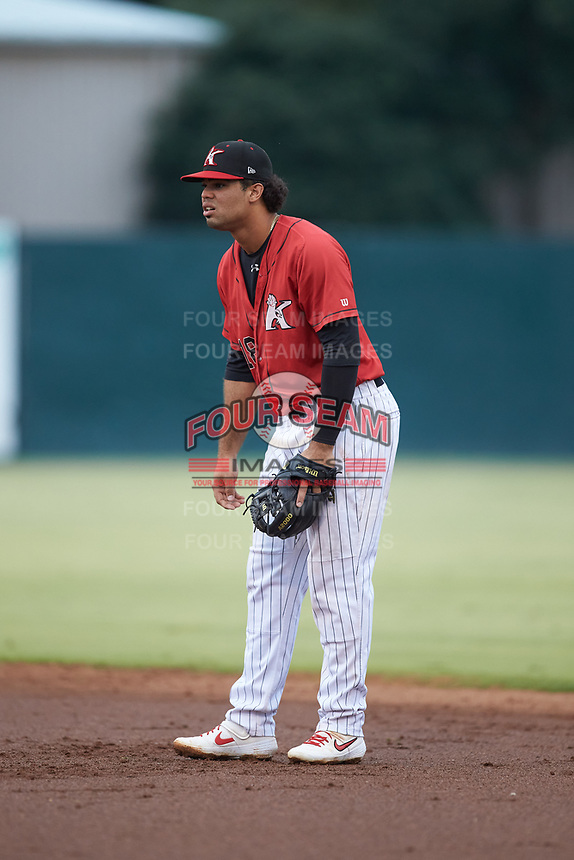 Kannapolis Intimidators second baseman Amado Nunez (18) on defense against the Hagerstown Suns at Kannapolis Intimidators Stadium on August 27, 2019 in Kannapolis, North Carolina. The Intimidators defeated the Suns 5-4. (Brian Westerholt/Four Seam Images)
