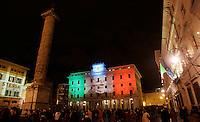 Una veduta del Palazzo Wedekind illuminato con riflettori tricolori, in Piazza Colonna, a Roma, 16 ottobre 2011, in occasione della Notte Tricolore per la celebrazione del 150esimo anniversario dell'Unita' d'Italia..A view of Palazzo Wedekind lit up with tricolour lights in Piazza Colonna square,  Rome, 16 march 2011, in occasion of the Tricolour Night marking the 150th anniversary of the Italian Union..UPDATE IMAGES PRESS/Riccardo De Luca