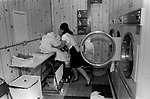 HM Prison Styal Wilmslow Cheshire UK 1980s. Womens prison,female prisoner doing her laundry 1986.