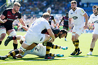 Juan Figallo of Saracens scores a try in the second half. Aviva Premiership Semi Final, between Saracens and Wasps on May 19, 2018 at Allianz Park in London, England. Photo by: Patrick Khachfe / JMP