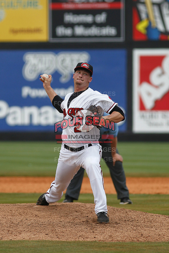 Carolina Mudcats pitcher Nate Griep (24) on the mound during a game against the Down East Wood Ducks on April 27, 2017 at Five County Stadium in Zebulon, North Carolina. Carolina defeated Down East 9-7. (Robert Gurganus/Four Seam Images)