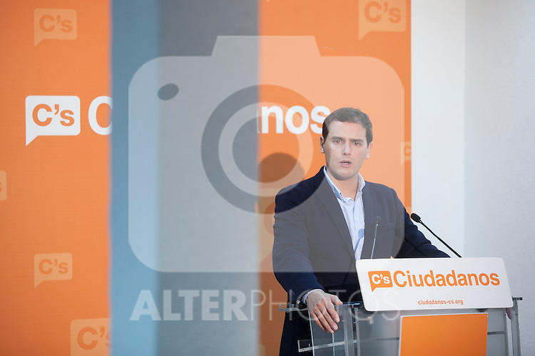 Ciudadanos political party leader Albert Rivera during a press conference in Madrid, Spain. November 06, 2015. (ALTERPHOTOS/Victor Blanco)