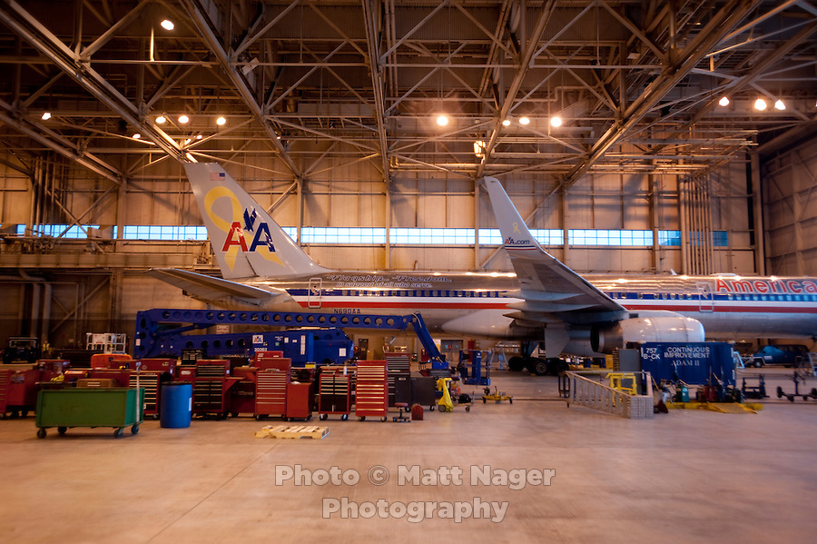 An American Airlines plane sits during a maintenance check in a hangar at Dallas-Fort Worth International Airport (DFW) in Dallas, Texas, Friday, May 14, 2010. ..PHOTO: MATT NAGER
