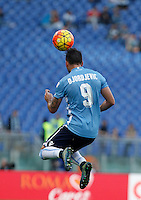 Calcio, Serie A: Roma vs Lazio. Roma, stadio Olimpico, 8 novembre 2015.<br /> Lazio's Filip Djordjevic heads the ball during the Italian Serie A football match between Roma and Lazio at Rome's Olympic stadium, 8 November 2015.<br /> UPDATE IMAGES PRESS/Isabella Bonotto