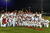 2016 Pioneer League Champions Orem Owlz celebrate after defeating the Billings Mustangs in Game 2 of the Pioneer League Championship at Home of the Owlz on September 16, 2016 in Orem, Utah. Orem defeated Billings 3-2 and are the 2016 Pioneer League Champions. (Stephen Smith/Four Seam Images)