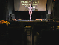 Bianca, a professional burlesque dancer, performs a show in a totally empty blah blah independent theater Turin ( Italy ). June 4th, 2020. Although many activities in Italy have already reopened for workers in the entertainment world, there is still no certain information for the reopening after the Coronavirus pandemic (Covid-19).