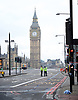 Westminster Bridge <br /> in the aftermath of the Terrorist attack yesterday afternoon, Police officers guarding the area around the bridge which is now a Crime Scene with Police Do Not Cross tape across the entry points. <br /> <br /> 23rd March 2017 <br /> <br /> A view of Westminster Bridge towards the Palace of Westminster, London, Great Britain <br /> <br /> <br /> Photograph by Elliott Franks <br /> Image licensed to Elliott Franks Photography Services