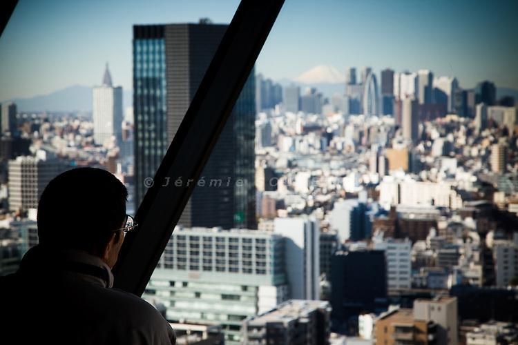 Tokyo, January 2011 - Shinjuku skyline and Fuji mountain.