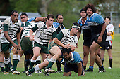 T. Ormsby looks to push past J. Takamore's tackle. CMRFU Premier Club Rugby round 4 game between Manurewa & Weymouth played at Manurewa on the 5th of May 2007. Manurewa led 24 - 0 at halftime and went on to win 43 - 7.