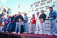 Danien Hardman (AUS), winner of the 1987 Quiksilver trials, Bells Beach, Torquay, Victoria, Australia. On the stage with Hardman is Mark Warren (AUS), Greg Day (AUS) and Richard Cram (AUS).Photo: Joliphotos.com