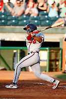 Ray-Patrick Didder (13) of the Mississippi Braves at bat during a game against the Chattanooga Lookouts on August 04, 2018 at AT&T Field in Chattanooga, Tennessee. (Andy Mitchell/Four Seam Images)