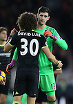 David Luiz of Chelsea  hugs Thibaut Courtois of Chelsea during the English Premier League match at the Riverside Stadium, Middlesbrough. Picture date: November 20th, 2016. Pic Simon Bellis/Sportimage