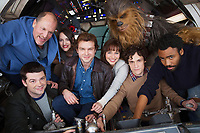 Solo: A Star Wars Story (2018) <br /> Behind the scenes photo of Alden Ehrenreich, Woody Harrelson, Emilia Clarke, Donald Glover, Phil Lord, Christopher Miller, Phoebe Waller-bridge &amp; Joonas Suotamo  <br /> *Filmstill - Editorial Use Only*<br /> CAP/KFS<br /> Image supplied by Capital Pictures