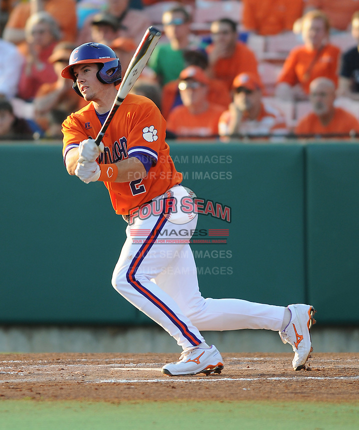 Infielder Jason Stolz (2) of the Clemson Tigers in a game against the Eastern Michigan Eagles on Friday, Feb. 18, 2011, at Doug Kingsmore Stadium in Clemson, S.C. Photo by Tom Priddy / Four Seam Images