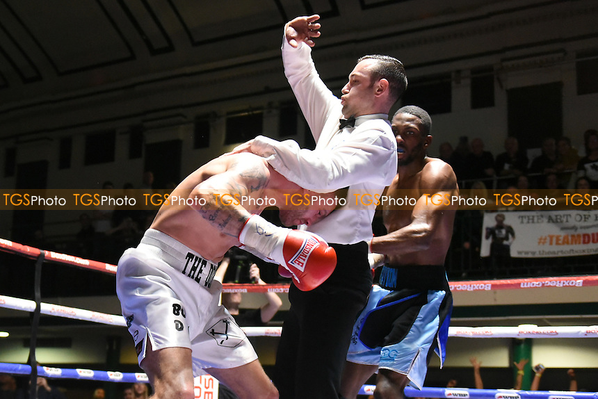 Asinia Byfield (blue shorts) defeats John Brennan during a Boxing Show at York Hall on 18th February 2017