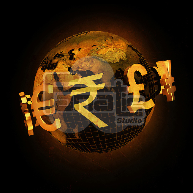 Global currencies surrounding globe over black background
