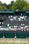 Mcc0032212 . SundayTelegraph..Shot with a shift lens..Maria Sharapova vs Klara Zakopalova on court 2.The sixth day of The Lawn Tennis Championships at Wimbledon..24 June 2011 Wimbledon