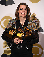 LOS ANGELES - FEBRUARY 10: Singer/songwriter Brandi Carlile poses with her awards for Best American Roots Performance 'The Joke', Best American Roots song 'The joke' and Best Americana Album 'By the Way, I Forgive You'  in the press room at the 61st Grammy Awards at Staples Center on February 10, 2019 in Los Angeles, California. (Photo by Frank Micelotta/PictureGroup)