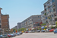 A street with residential apartment buildings Shkodra. Albania, Balkan, Europe.