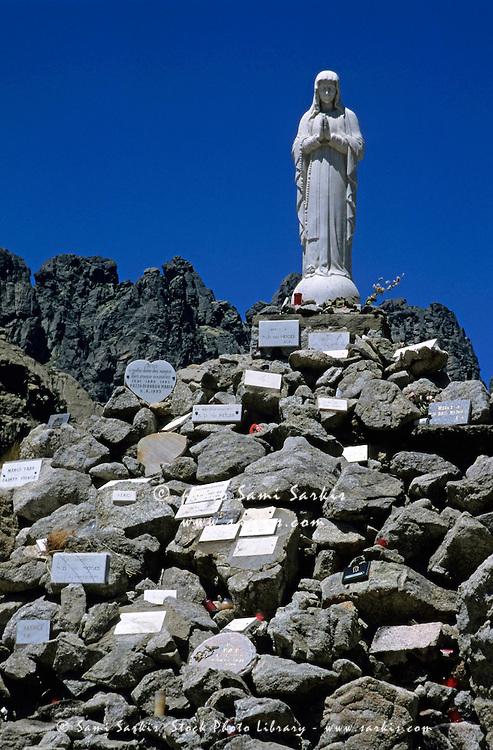 Notre Dame des Neiges statue in Bavella Pass, Alta Rocca, Corsica, France.
