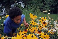 1Y08-130z   Land Snail - girl finding snail on flower