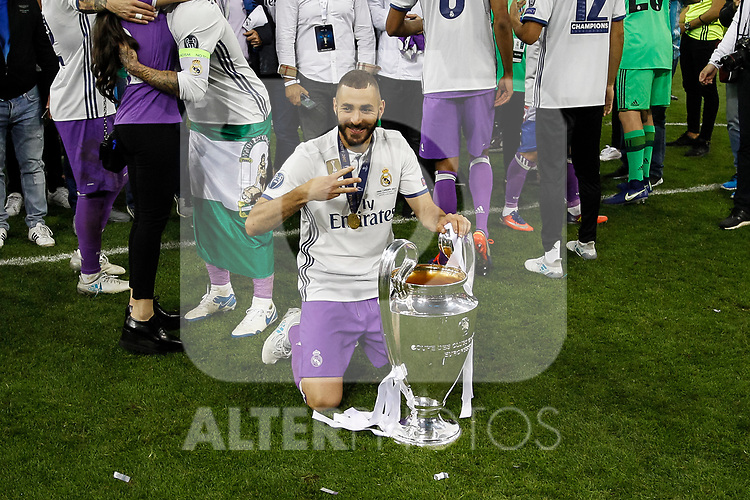 Karim Benzema of Real Madrid celebrates after the UEFA Champions League Final match between Juventus and Real Madrid at the Principality Stadium on June 3rd 2017 in Cardiff, Wales.