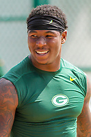Green Bay Packers running back Jamaal Williams (30) during a training camp practice on August 15, 2017 at Ray Nitschke Field in Green Bay, Wisconsin.   (Brad Krause/Krause Sports Photography)