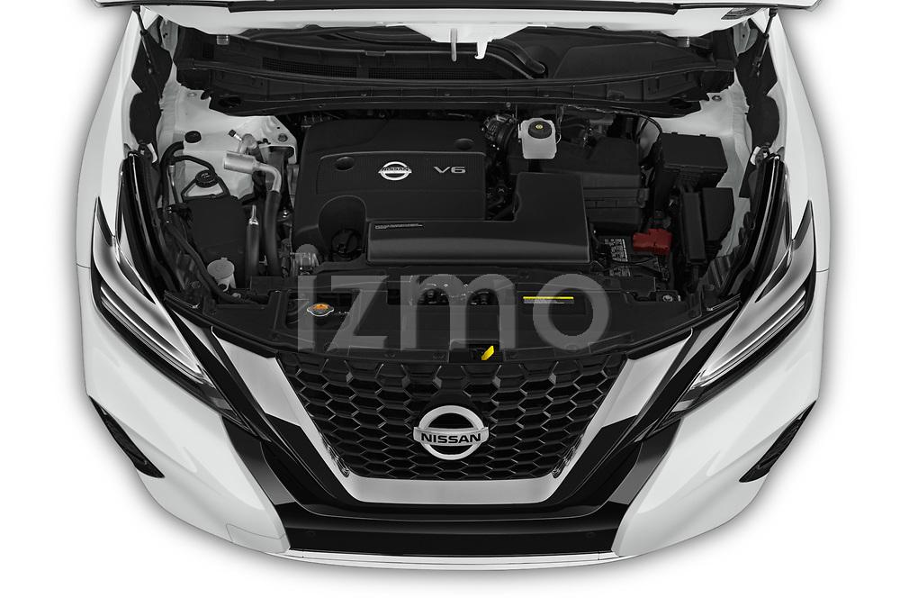 Car Stock 2019 Nissan Murano SL 5 Door SUV Engine  high angle detail view