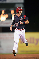 Batavia Muckdogs designated hitter Branden Berry (35) running the bases during a game against the Hudson Valley Renegades on August 1, 2016 at Dwyer Stadium in Batavia, New York.  Hudson Valley defeated Batavia 5-1. (Mike Janes/Four Seam Images)
