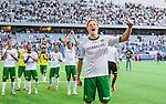 Stockholm 2014-07-20 Fotboll Superettan Hammarby IF - &Ouml;sters IF :  <br /> Hammarbys Lars S&auml;tra Saetra jublar med lagkamrater och inleder en s&aring;ng med Hammarbys supportrar<br /> (Foto: Kenta J&ouml;nsson) Nyckelord:  Superettan Tele2 Arena Hammarby HIF Bajen &Ouml;ster &Ouml;IF jubel gl&auml;dje lycka glad happy supporter fans publik supporters