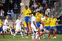 Juan David Valencia (6) of Colombia (COL) heads the ball. The men's national teams of the United States (USA) and Colombia (COL) played to a 0-0 tie during an international friendly at PPL Park in Chester, PA, on October 12, 2010.