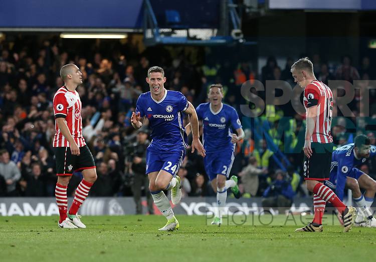 Chelsea's Gary Cahill celebrates scoring his sides second goal during the Premier League match at Stamford Bridge Stadium, London. Picture date: April 25th, 2017. Pic credit should read: David Klein/Sportimage