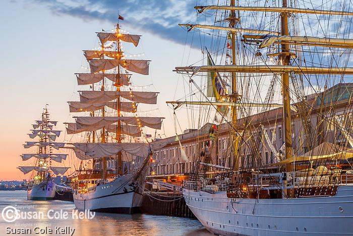 Tall ships at sunrise, Boston, Massachusetts, USA