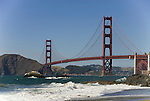 San Francisco: Baker Beach with Golden Gate Bridge in background.  Photo # 2-casanf83359.  Photo copyright Lee Foster